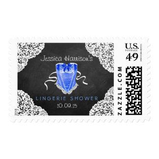 Blue Corset White Lace Chalkboard Lingerie Shower Postage