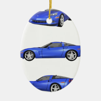 Blue Corvette: Ceramic Ornament