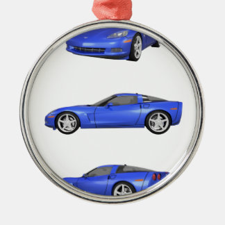 Blue Corvette: Metal Ornament
