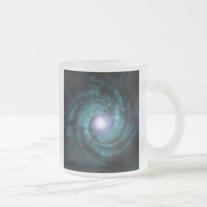 Blue Cosmic Twirl Frosted Glass Coffee Mug