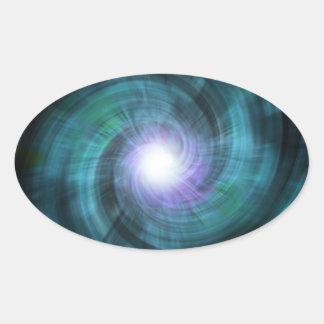Blue Cosmic Twirl Oval Sticker