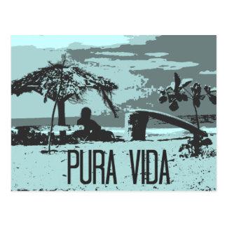 Blue Costa Rica Pura Vida Surfer Postcard