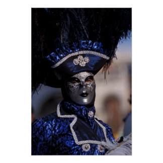 Blue Costume at Carnival of Venice Poster