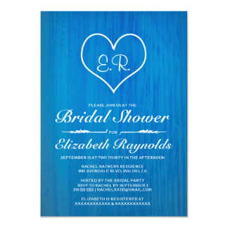 Blue Country Bridal Shower Invitations