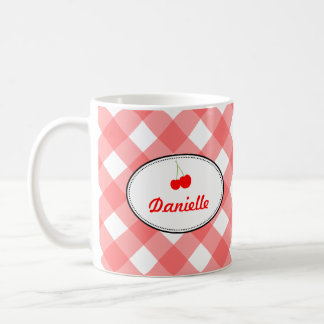 Blue country gingham pattern red cherry personal mug