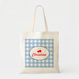 Blue country gingham pattern red cherry personal tote bag
