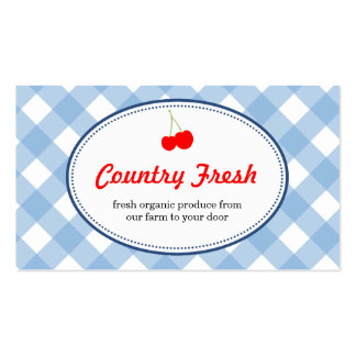 Blue country gingham pattern red cherry produce Double-Sided standard business cards (Pack of 100)