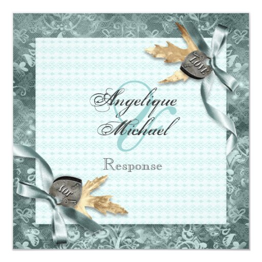 """Blue country harvest floral 5.25"""" square invitation card"""