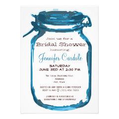 Blue Country Mason Jar Bridal Shower Invitations