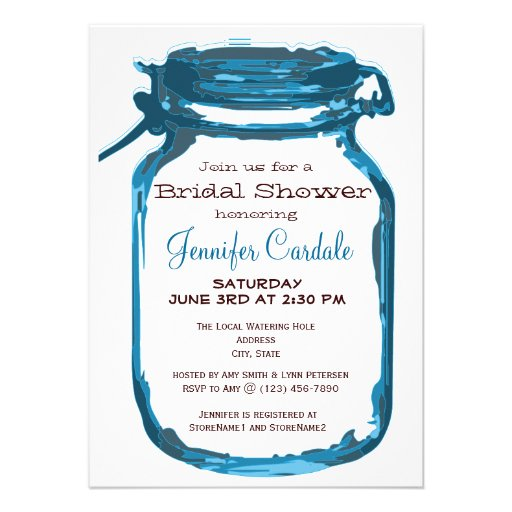 Blue Country Mason Jar Bridal Shower Invitations Announcement | Zazzle