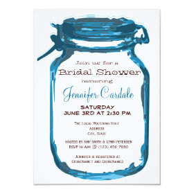 Blue Country Mason Jar Bridal Shower Invitations 4.5