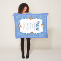 Blue Country Plaid with Baby Bears Fleece Blanket