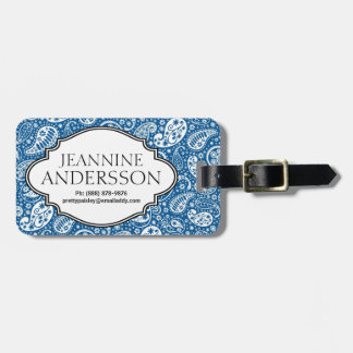 Blue Country Western Bandana Style Paisley Pattern Tag For Luggage