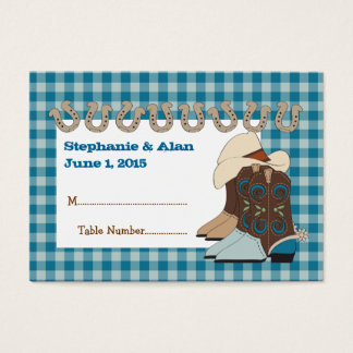 Blue Country Western Place Cards