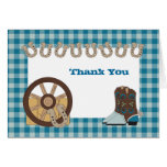 Blue Country Western Thank You Card