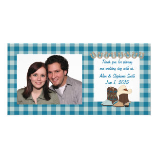 Blue Country Western Thank You Photo Cards
