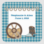 Blue Country Western Wedding Stickers