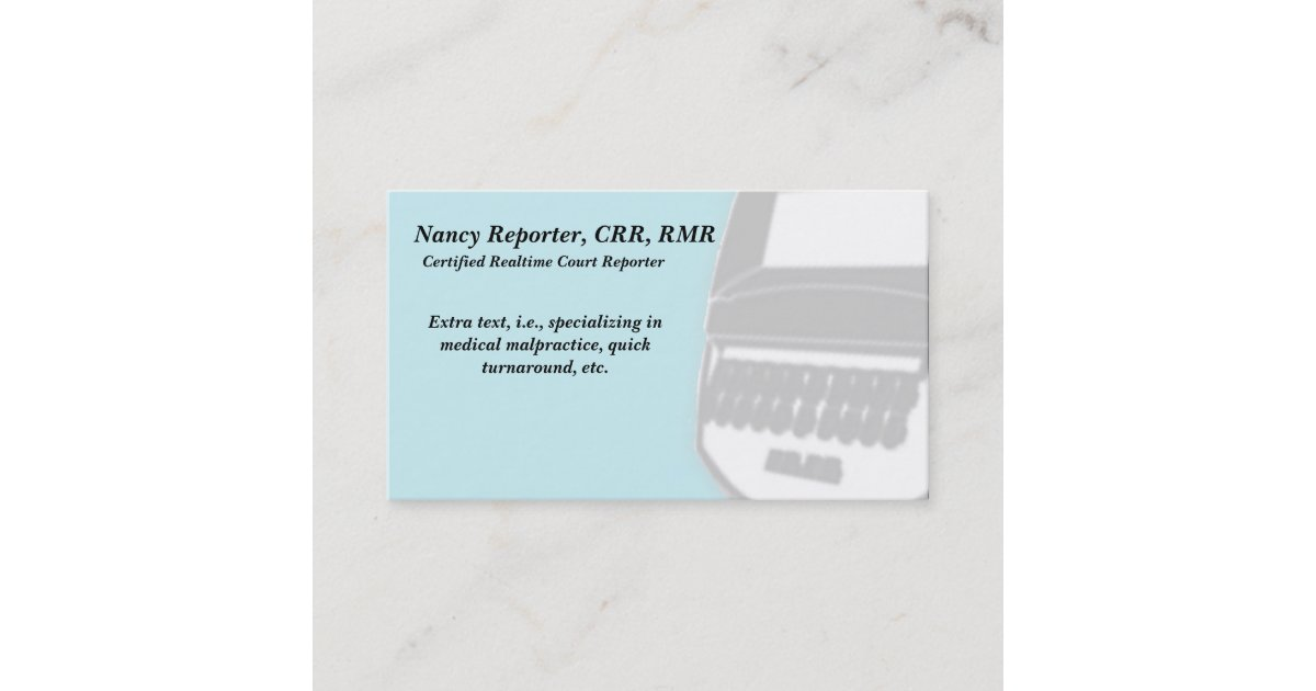 Blue Court Reporter Steno Machine Business Cards | Zazzle.com