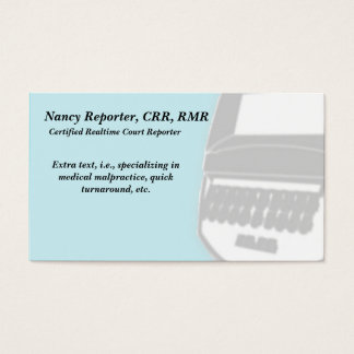 Blue Court Reporter Steno Machine Business Cards