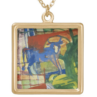 Blue Cow, 1914 (tempera on paper) Gold Plated Necklace