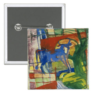 Blue Cow, 1914 (tempera on paper) Pinback Button