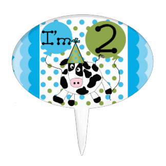 Blue Cow 2nd Birthday Cake Topper