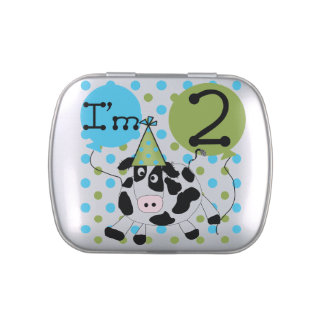 Blue Cow 2nd Birthday Candy Tins and Jars