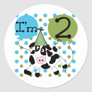 Blue Cow 2nd Birthday Tshirts and Gifts Classic Round Sticker