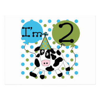 Blue Cow 2nd Birthday Tshirts and Gifts Post Cards