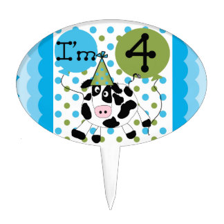 Blue Cow 4th Birthday Cake Topper