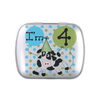 Blue Cow 4th Birthday Candy Tins and Jars