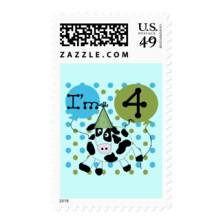 Blue Cow 4th Birthday Tshirts and Gifts Postage Stamp