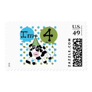 Blue Cow 4th Birthday Tshirts and Gifts Stamp