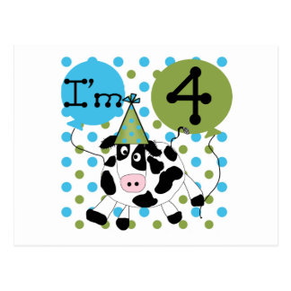 Blue Cow 4th Birthday Tshirts and Gifts Postcard