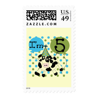 Blue Cow 5th Birthday Tshirts and Gifts Postage Stamps