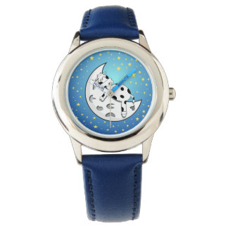 blue cow over moon Kid's stainless steel watch