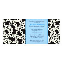 Blue Cow Print Bridal Shower Card