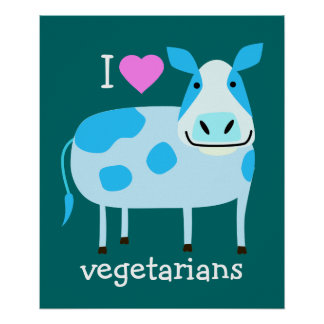 Blue Cow Vegetarian Poster