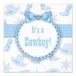 Blue Cowboy Baby Boy Shower 5.25x5.25 Square Paper Invitation Card