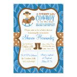 """Blue Cowboy Baby Boy Shower Invitation 5"""" X 7"""" Invitation Card"""