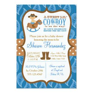 Blue Cowboy Baby Boy Shower Invitation