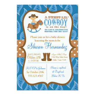 Blue Cowboy Baby Boy Shower Invitation