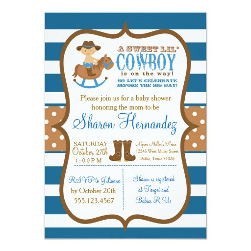 Blue Cowboy Baby Boy Shower Invitation Striped
