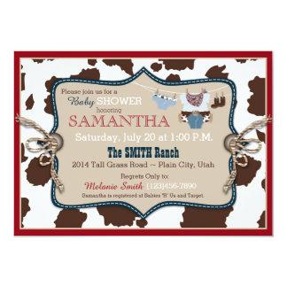 Blue Cowboy Baby Shower Bandanna Jumper 5x7 Paper Invitation Card