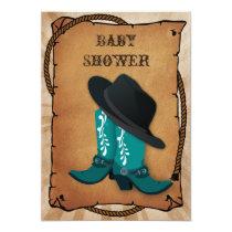blue cowboy boots western Baby shower Invitation
