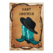 blue cowboy boots western Baby shower Invitation