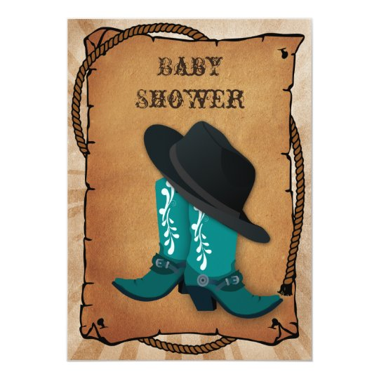 Blue Cowboy Boots Western Baby Shower Invitation Zazzle