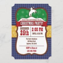 Blue Cowboy Christmas Party Invitation