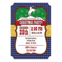 Blue Cowboy Christmas Party Invitation