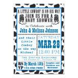 "Blue Cowboy Cowprint Baby Shower invitations 5"" X 7"" Invitation Card"